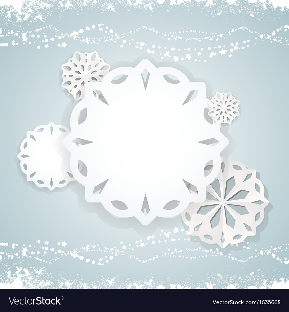 Paper snowflake background on blue2 vector | Price: 1 Credit (USD $1)