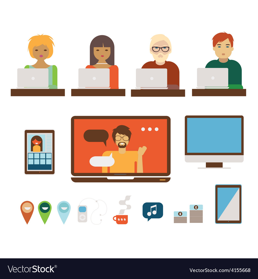 People and computers set vector | Price: 1 Credit (USD $1)