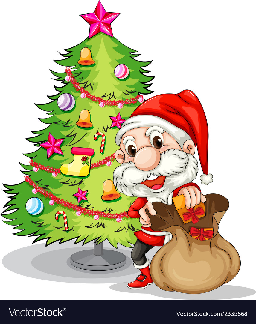 Santa claus near the christmas tree vector | Price: 3 Credit (USD $3)