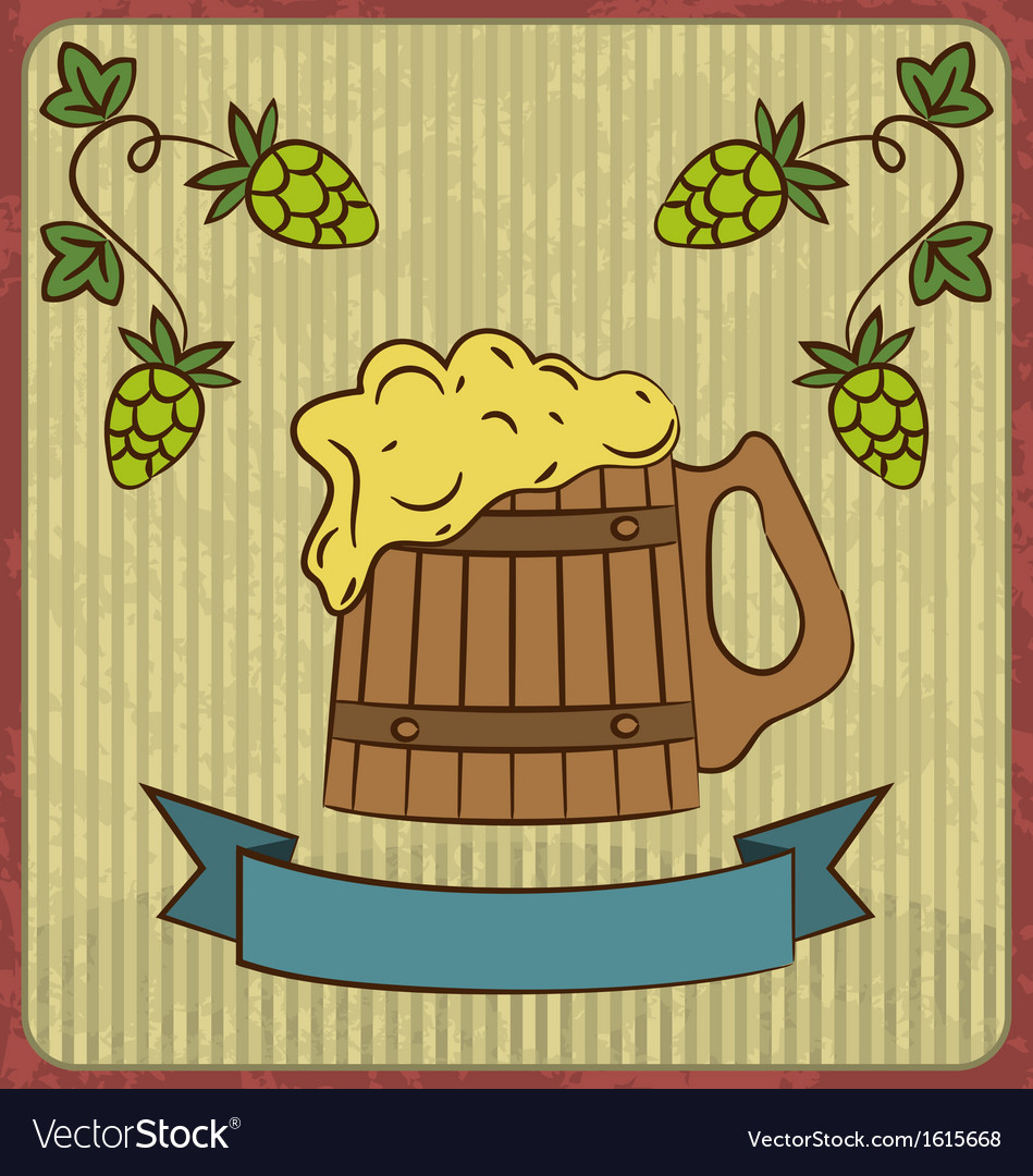Vintage card with wooden mug beer vector | Price: 1 Credit (USD $1)