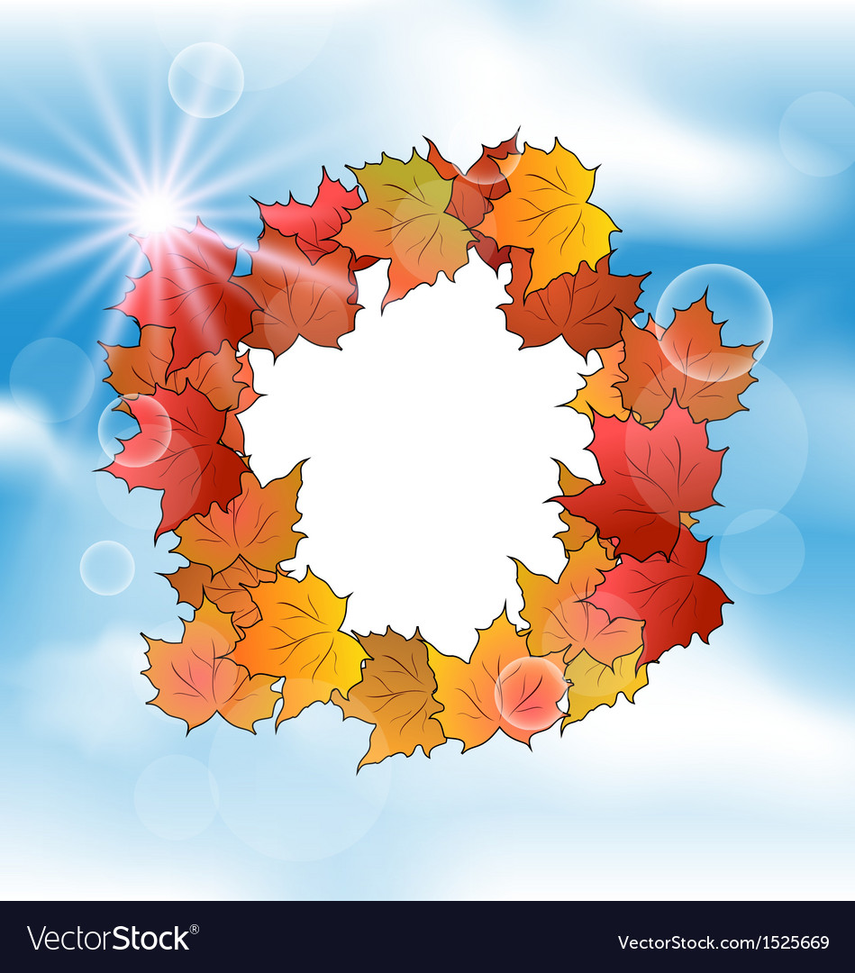 Autumn card with leaves maple on blue sky vector | Price: 1 Credit (USD $1)