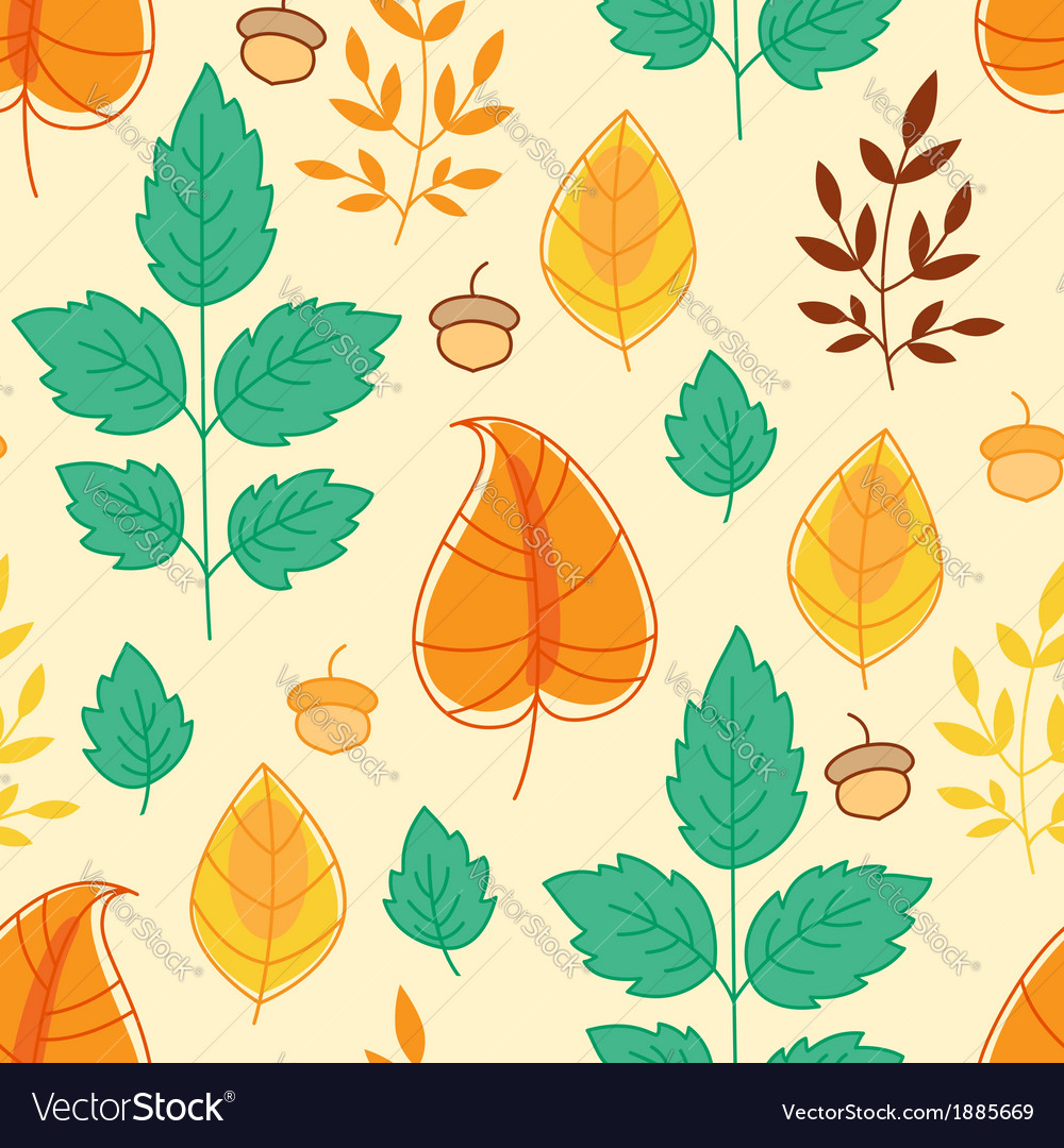 Autumn leaves and acorns vector | Price: 1 Credit (USD $1)
