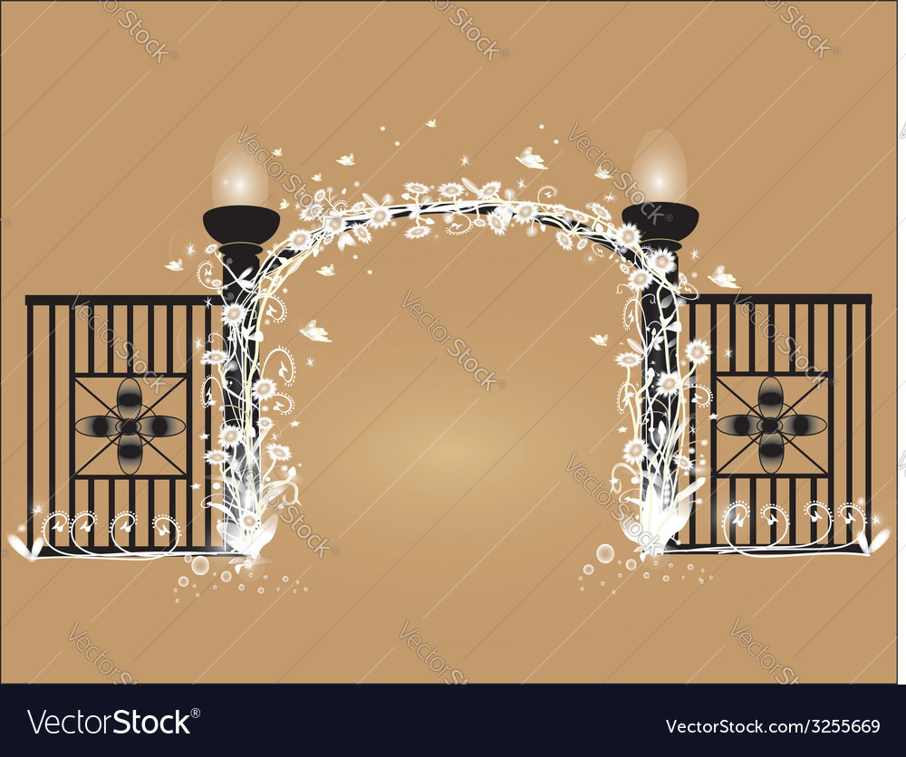 Black fence with white flowers vector | Price: 1 Credit (USD $1)