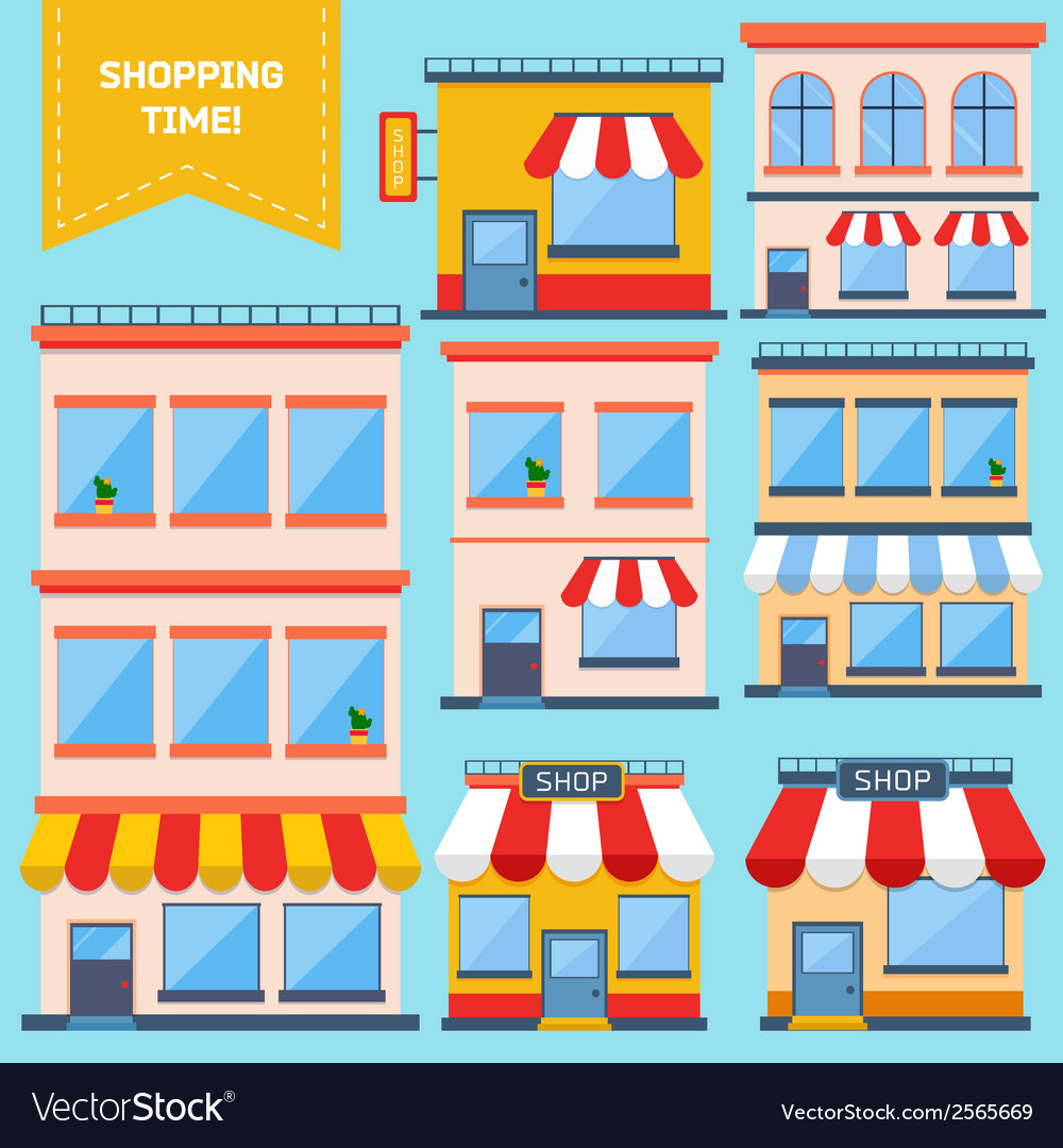 Flat store icons collection vector