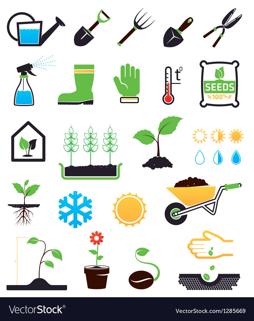 Gardening icons set vector | Price: 1 Credit (USD $1)