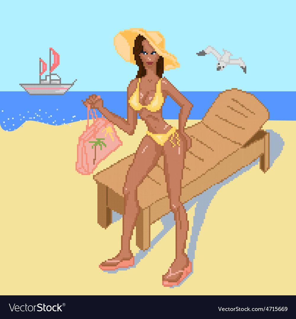 Girl on the beach vector | Price: 1 Credit (USD $1)