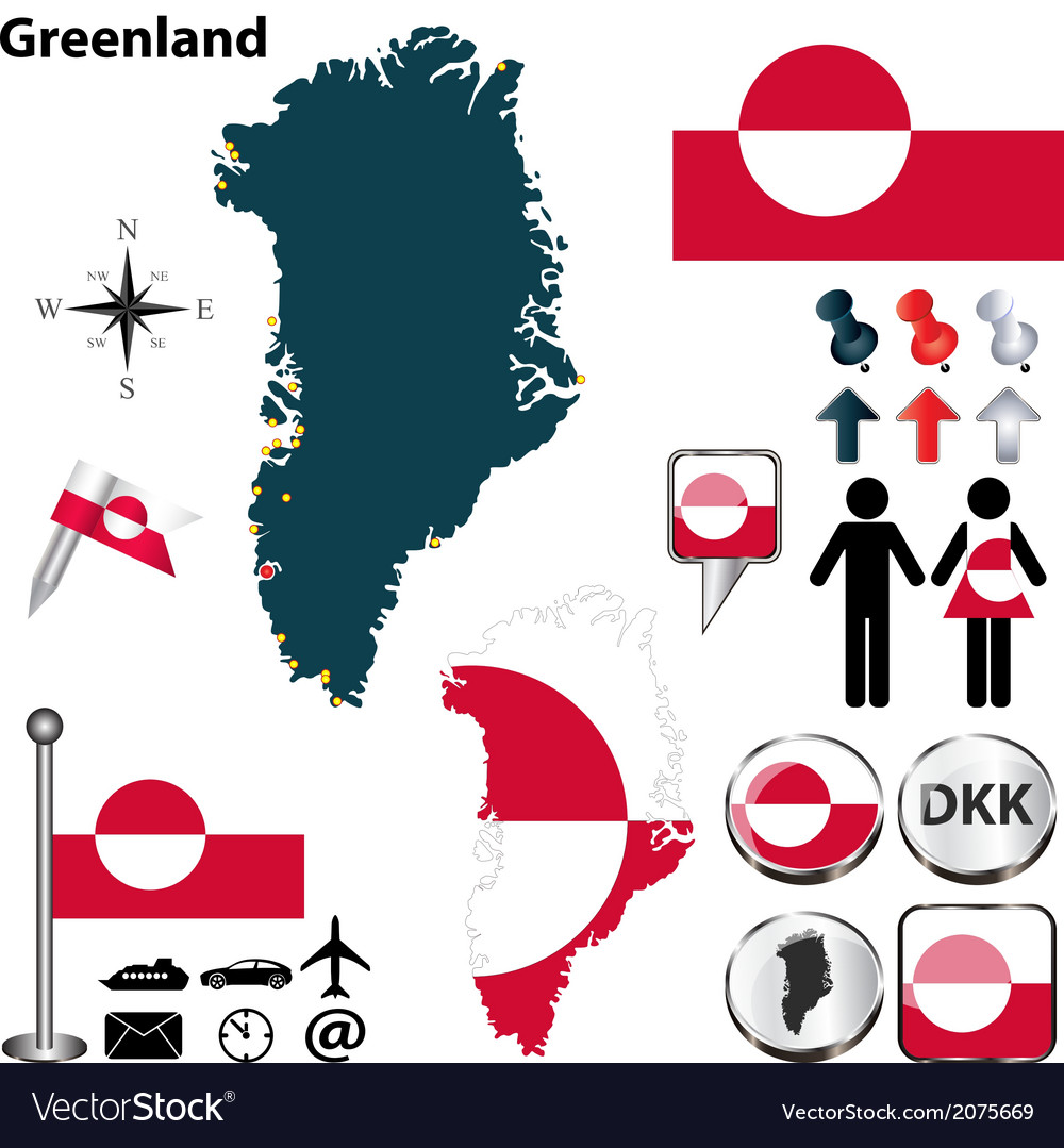 Greenland map small vector | Price: 1 Credit (USD $1)