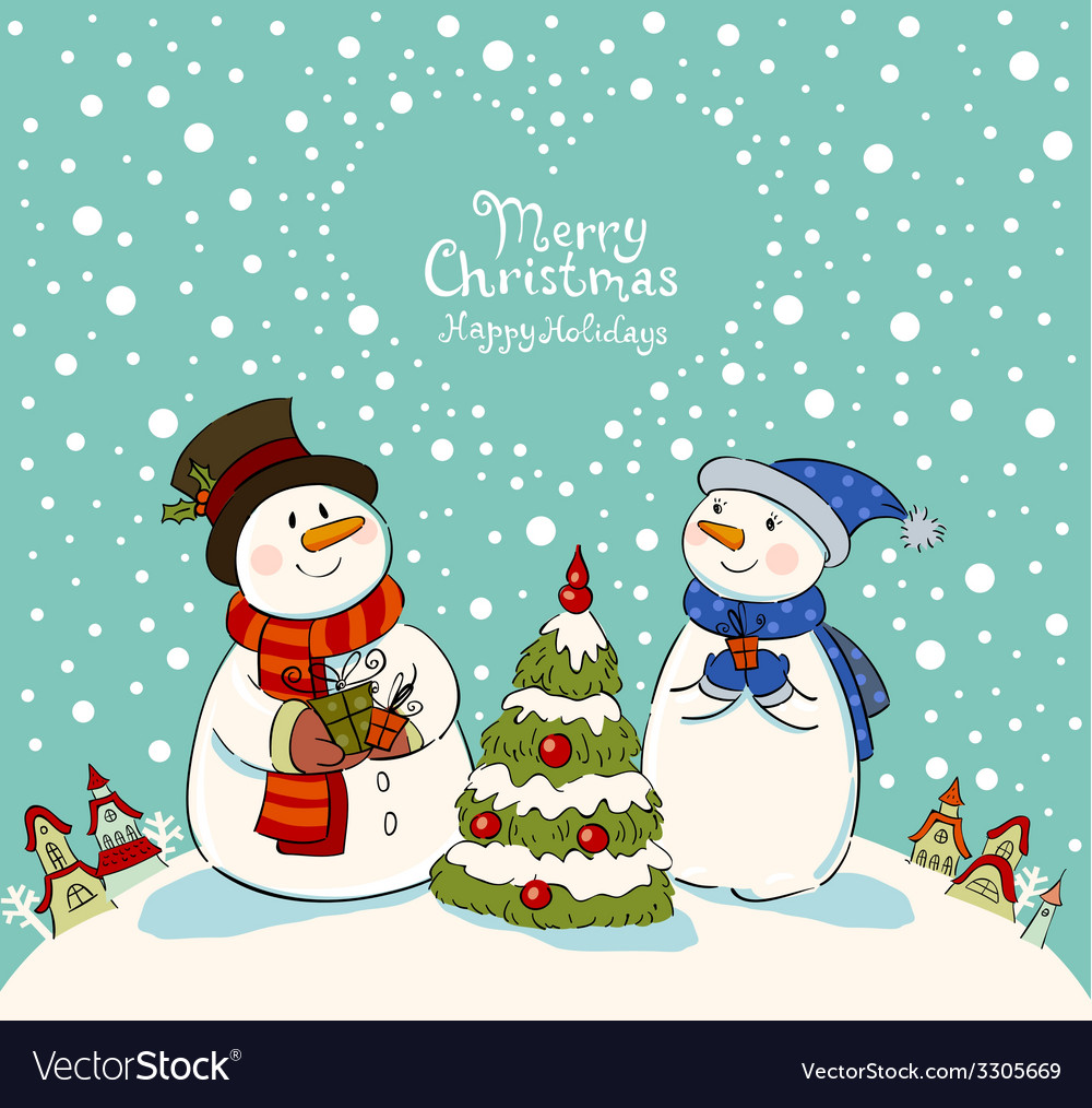 Loving couple of snowmen with gifts beside vector | Price: 1 Credit (USD $1)