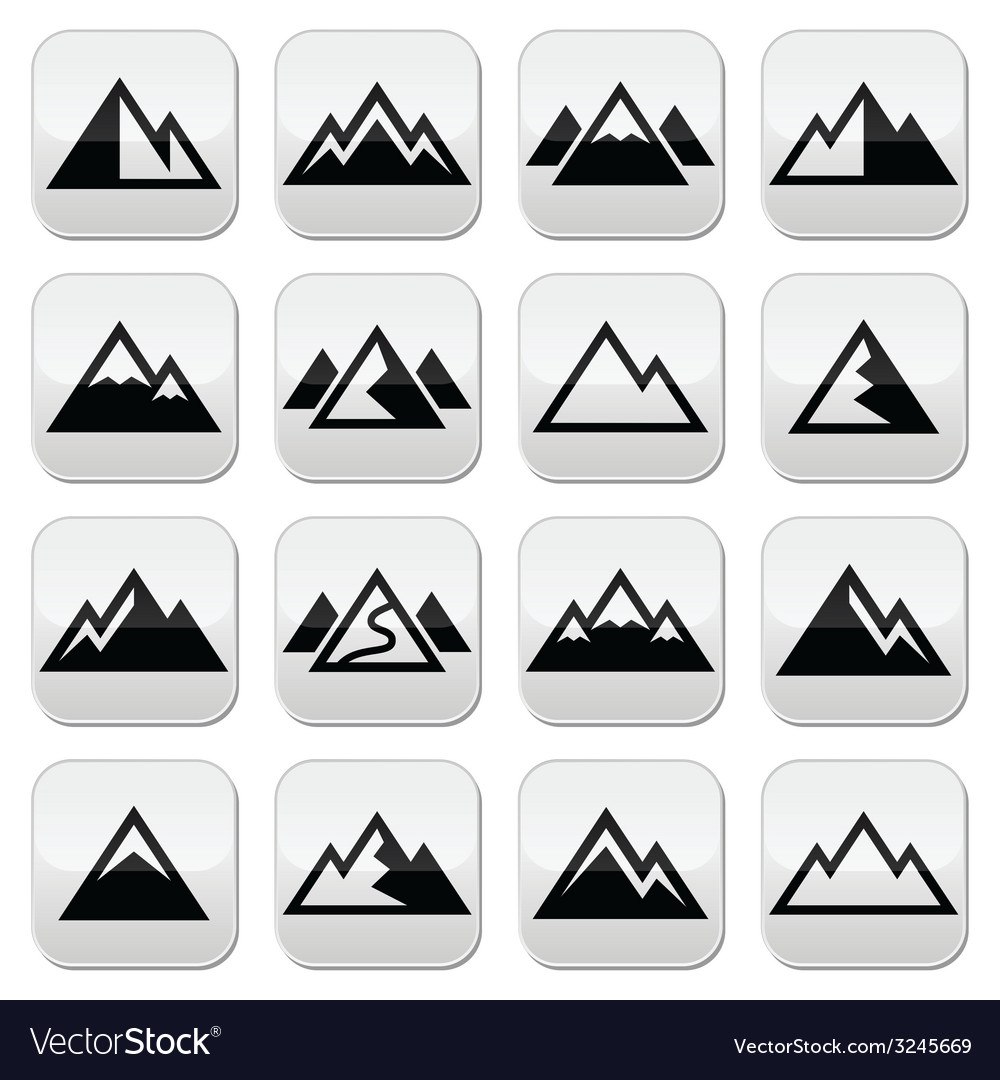 Mountain buttons set vector | Price: 1 Credit (USD $1)