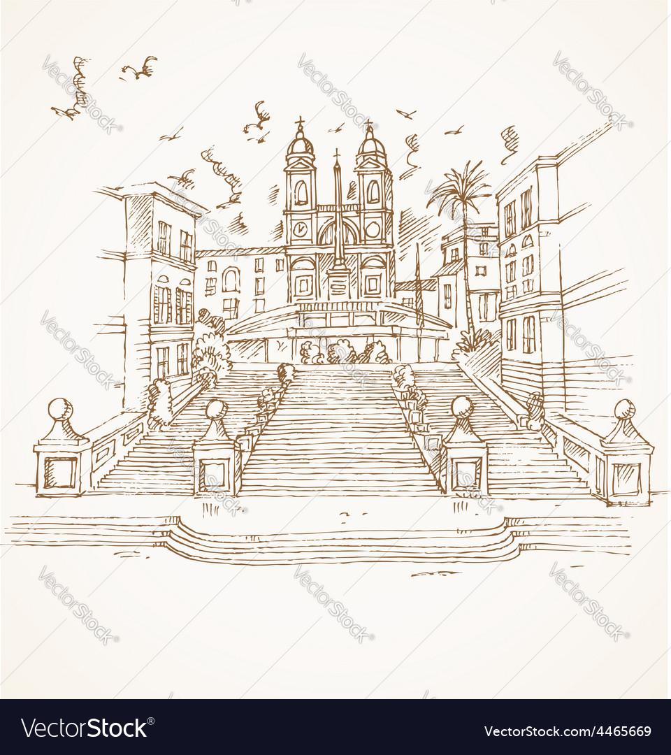 Piazza di spagna in rome hand draw vector | Price: 3 Credit (USD $3)