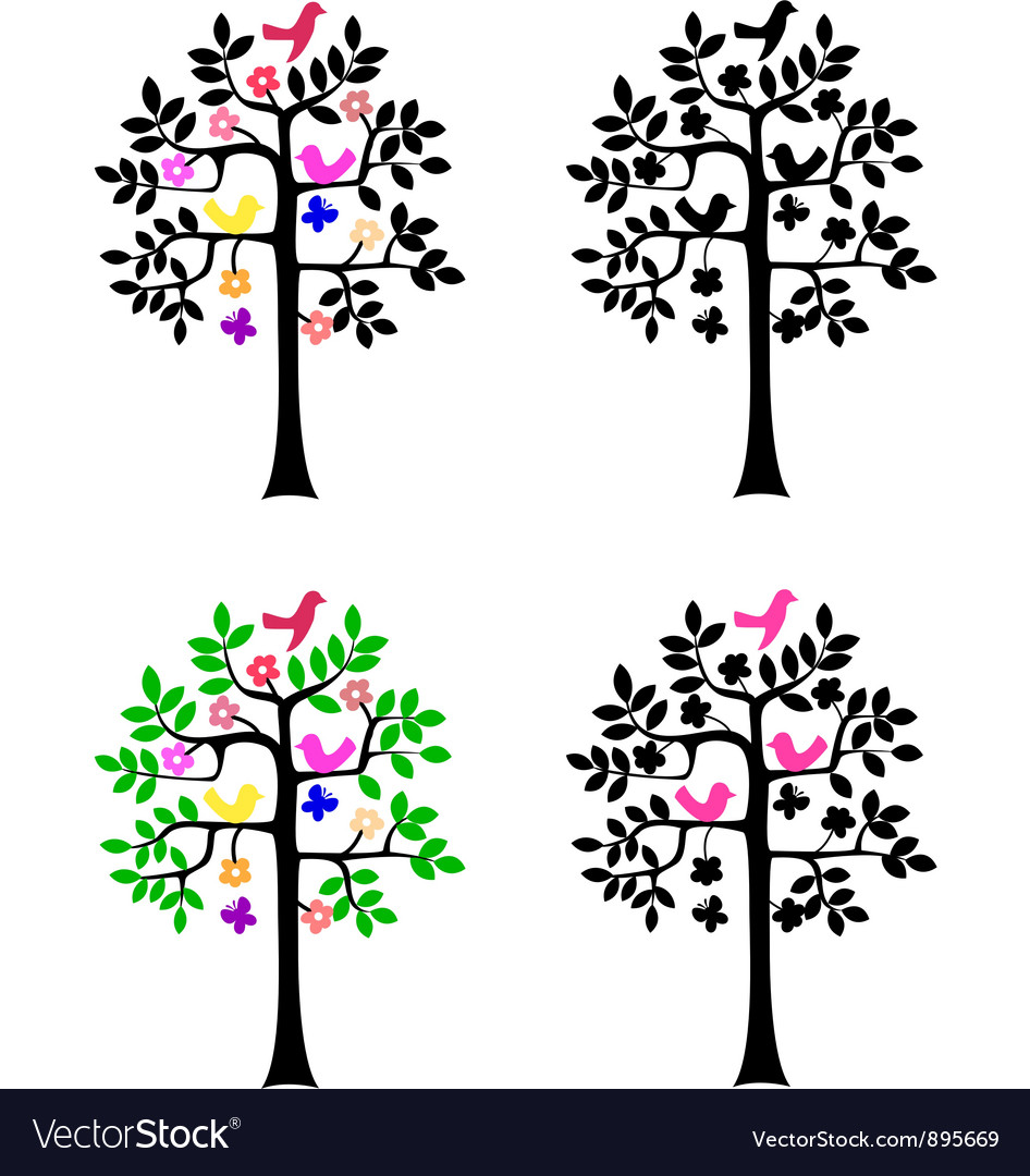 Tree silhouette on white background vector | Price: 1 Credit (USD $1)
