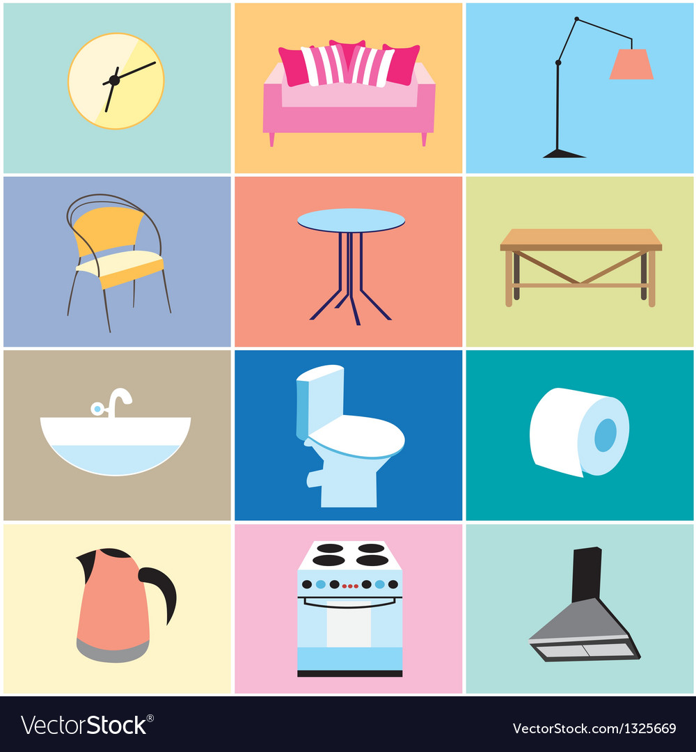Various furniture and household items vector | Price: 1 Credit (USD $1)