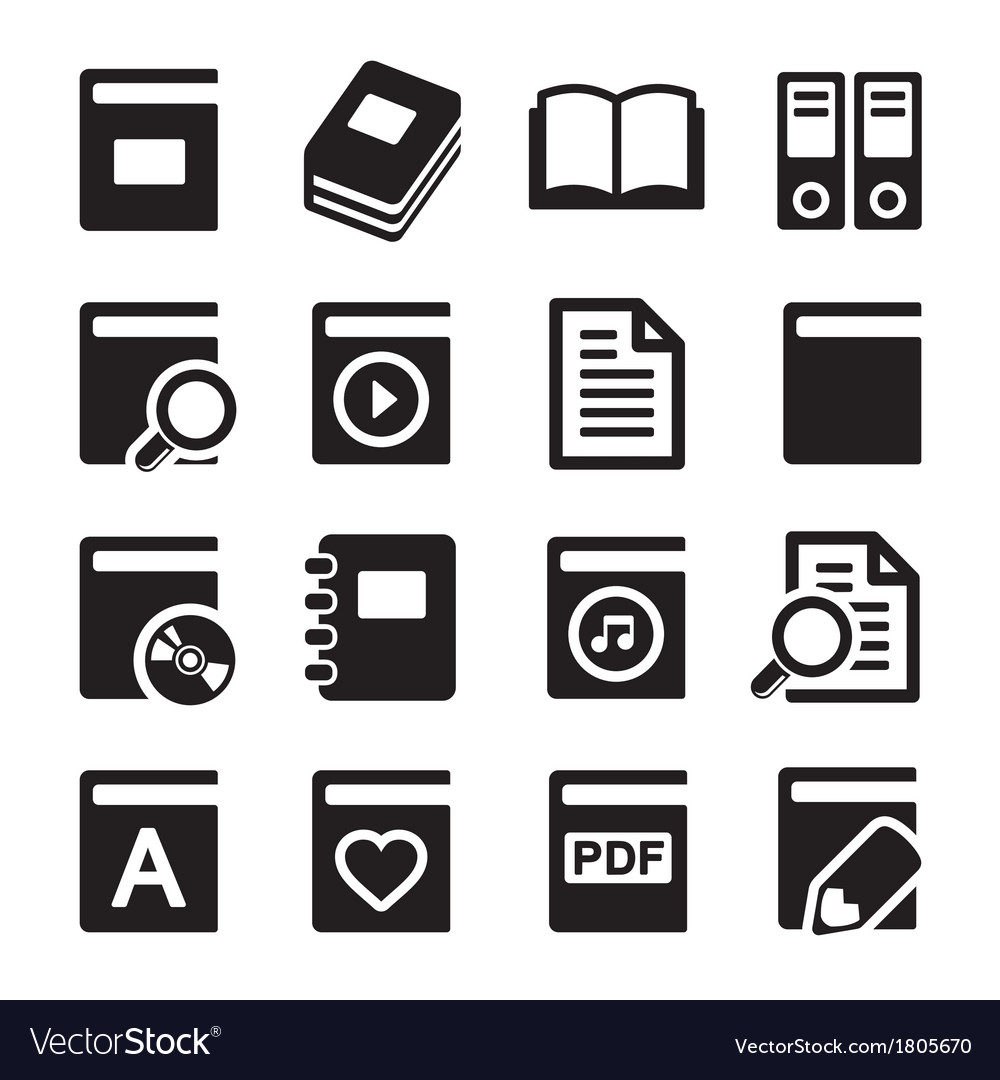 Book icons set on white background vector | Price: 1 Credit (USD $1)