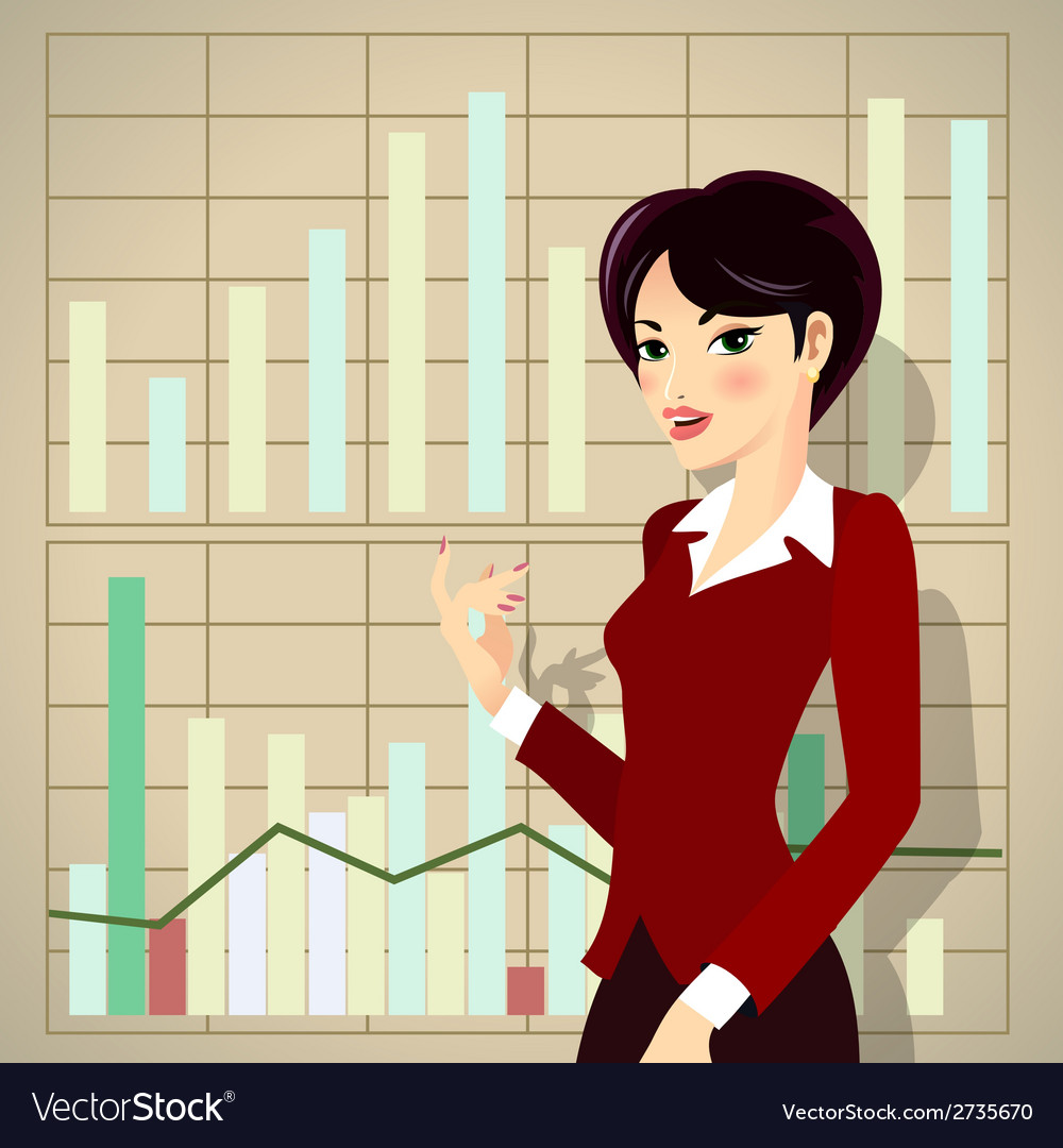 Business woman cartoon presenting proposal vector | Price: 1 Credit (USD $1)