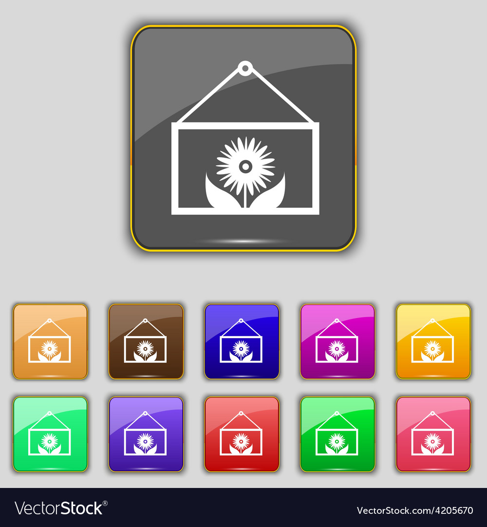 Frame with flower icon sign set with eleven vector   Price: 1 Credit (USD $1)