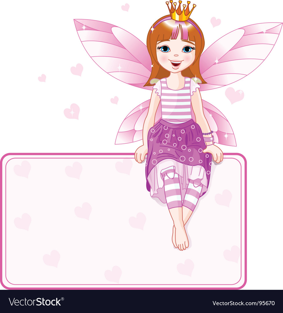 Little pink fairy place card vector | Price: 3 Credit (USD $3)