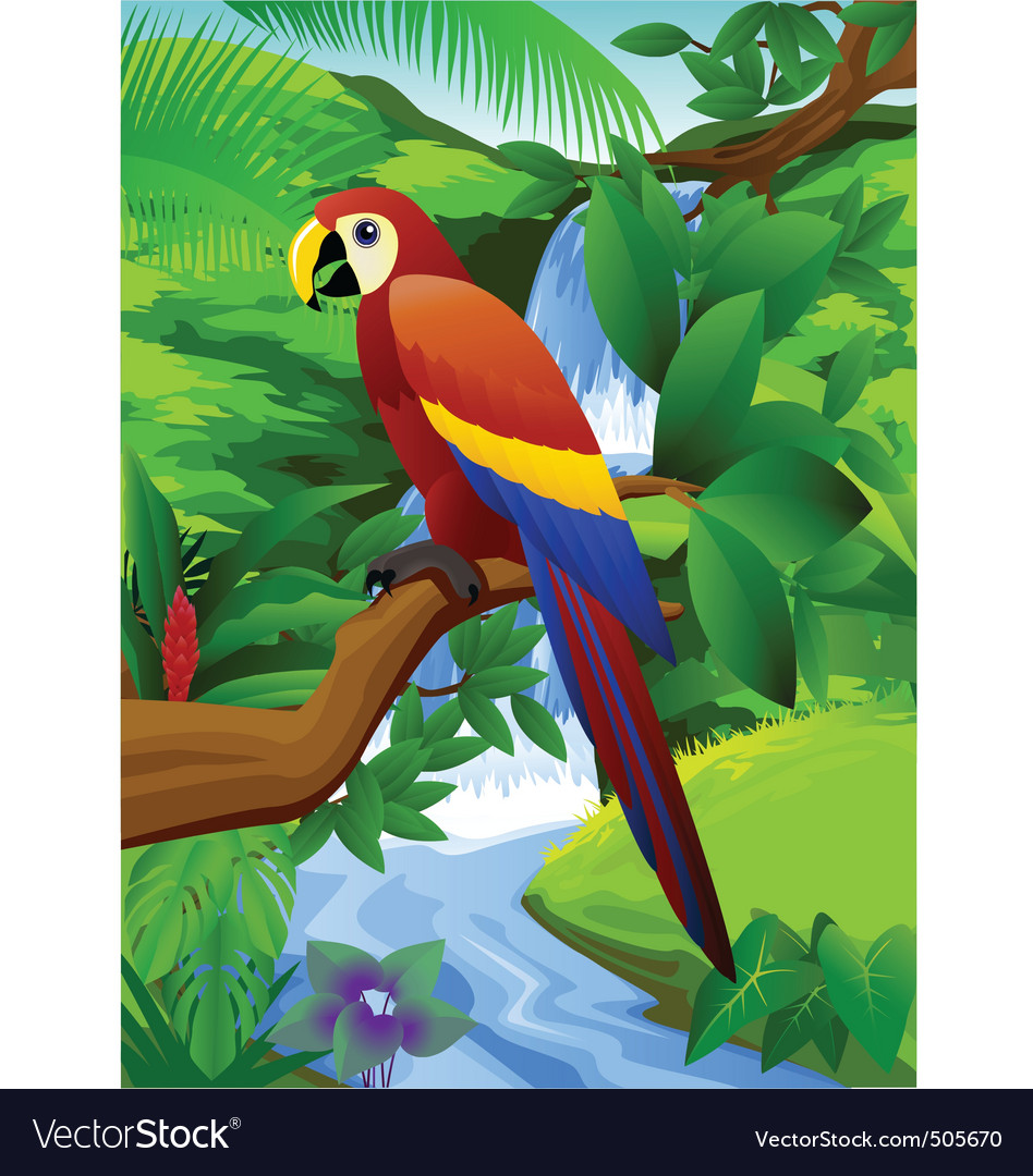 Parrot and waterfall vector | Price: 3 Credit (USD $3)