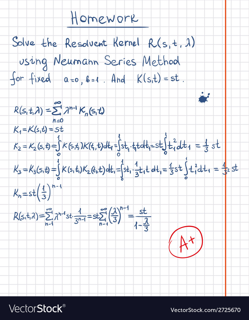 Resolvent kernel using neumann series method hand vector | Price: 1 Credit (USD $1)