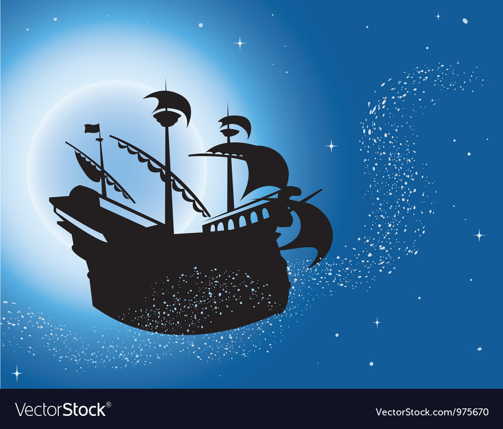 Sailing vessel in night sky vector | Price: 1 Credit (USD $1)