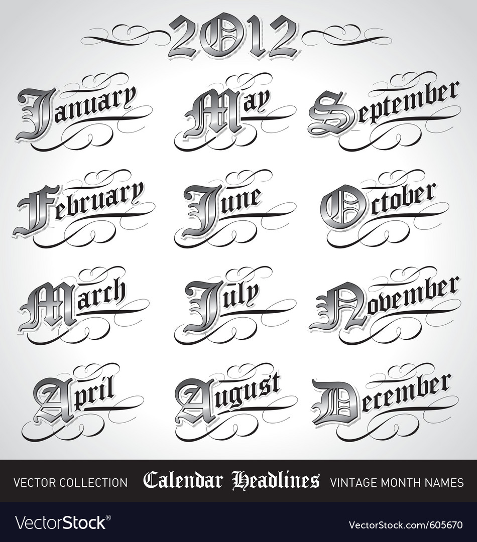 Vintage calendar month titles vector | Price: 1 Credit (USD $1)