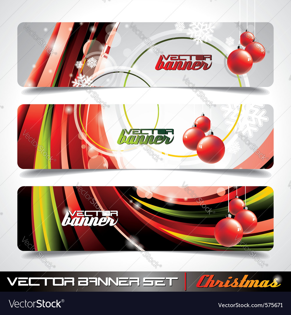 Banner set on a christmas theme vector | Price: 3 Credit (USD $3)