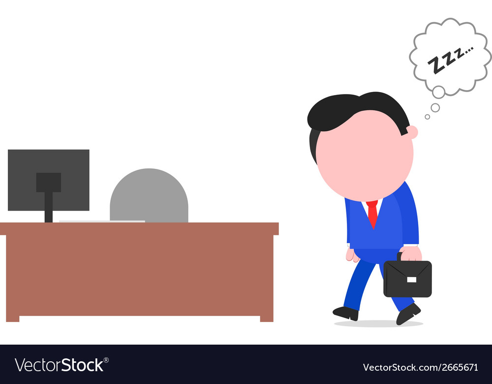 Businessman sleepwalking to desk vector | Price: 1 Credit (USD $1)