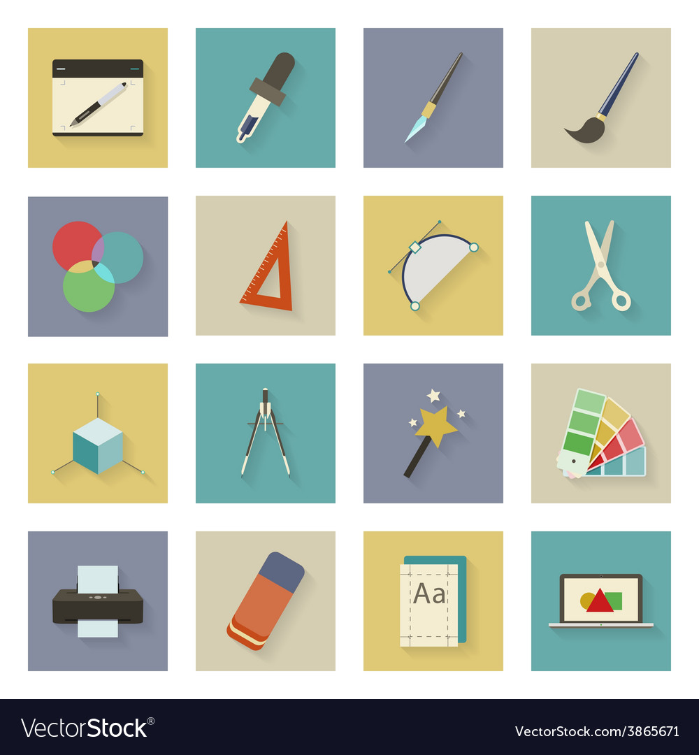 Graphic and design flat icons set with shadows vector | Price: 1 Credit (USD $1)