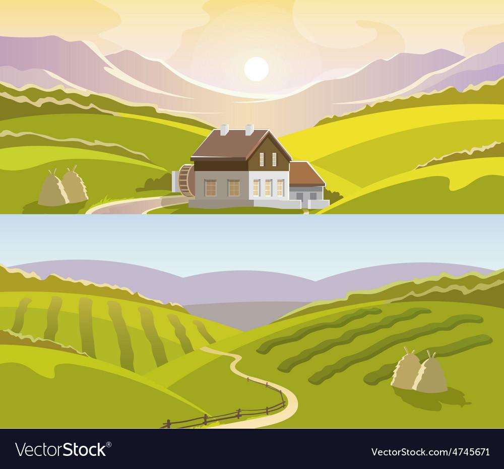 Mountain landscape banner set vector | Price: 3 Credit (USD $3)