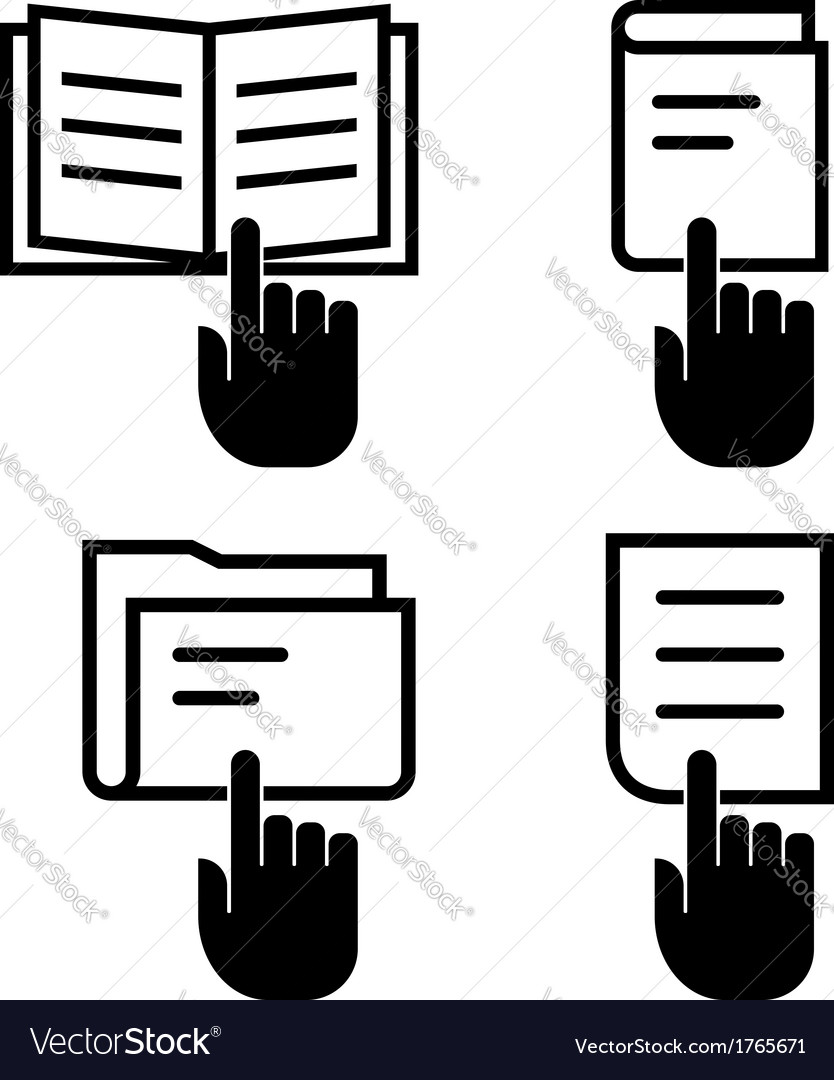 Open document icon set vector | Price: 1 Credit (USD $1)