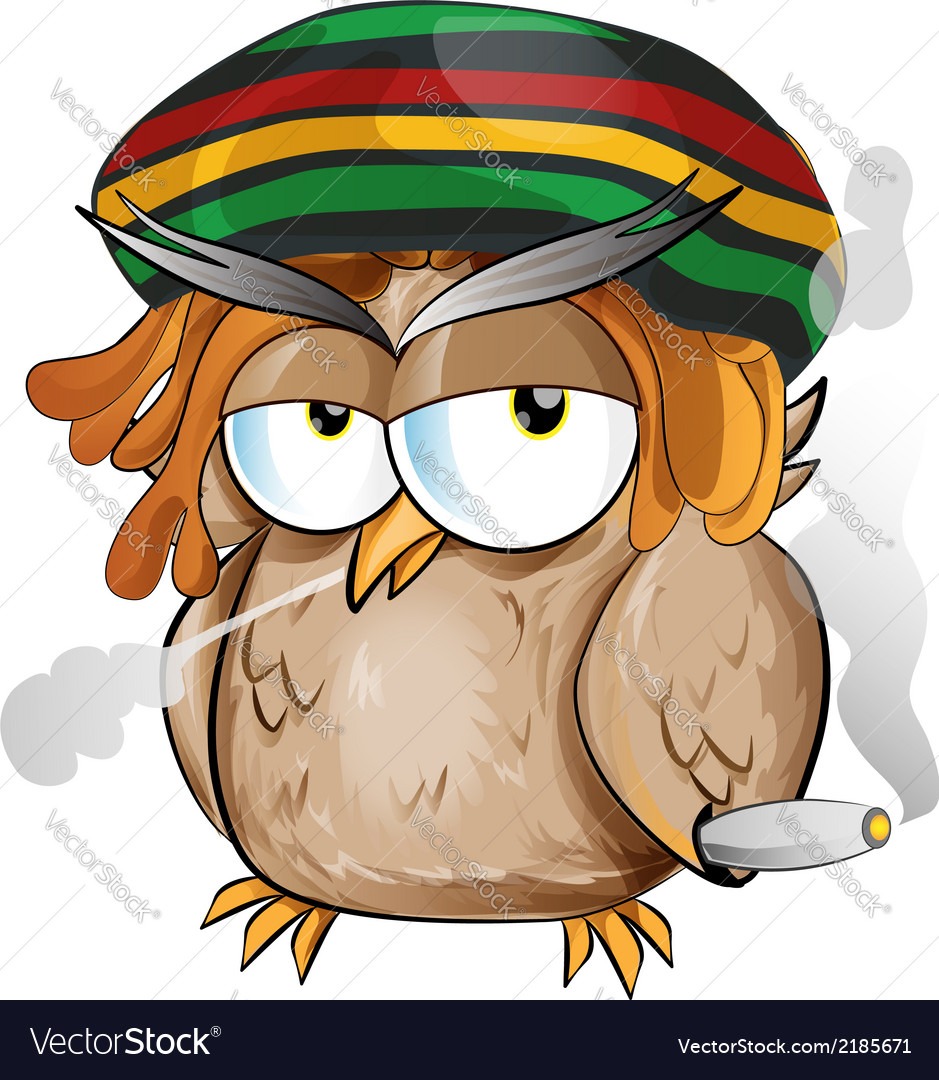 Rasta owl cartoon vector | Price: 1 Credit (USD $1)