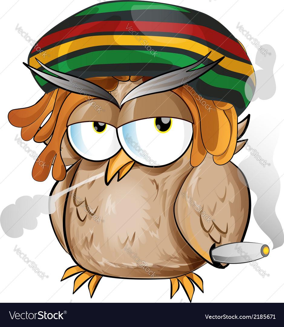 Rasta owl cartoon vector | Price: 1 Credit (USD $1)