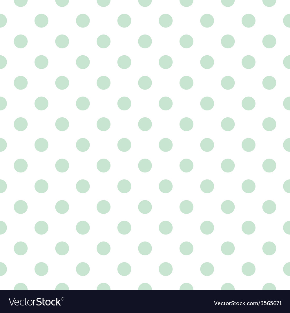 Tile pattern mint polka dots white background vector | Price: 1 Credit (USD $1)