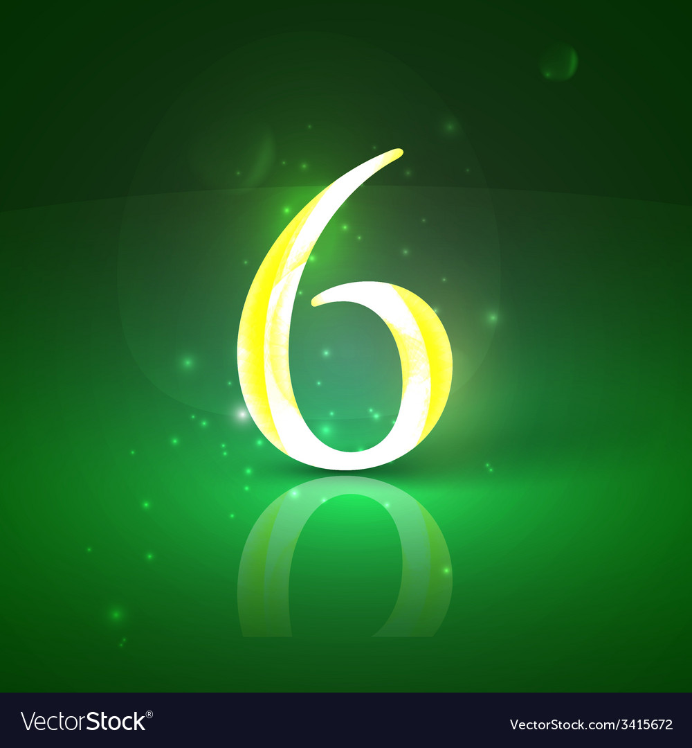 6 green glowing number six vector | Price: 1 Credit (USD $1)