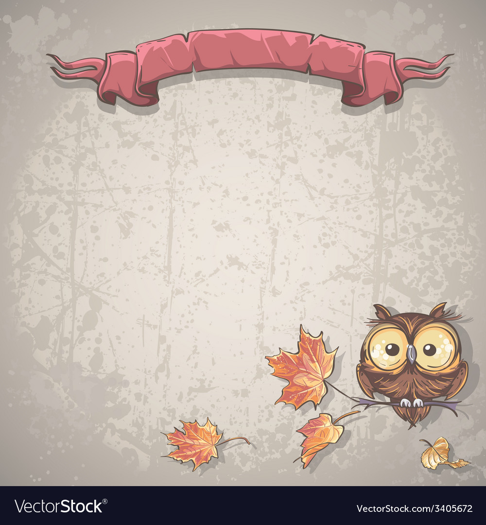 Background with owl and autumn leaves vector | Price: 1 Credit (USD $1)