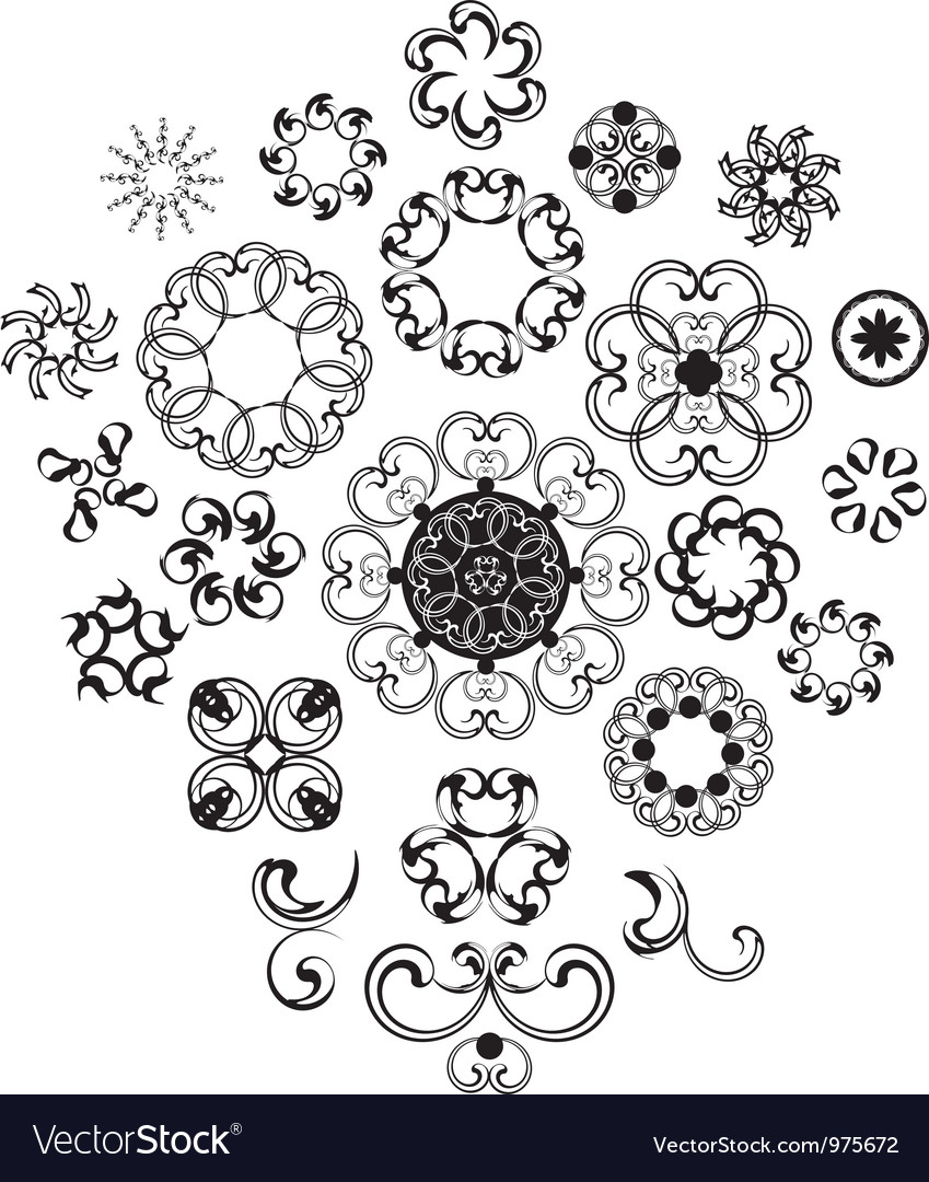 Decorative vintage flower set vector | Price: 1 Credit (USD $1)