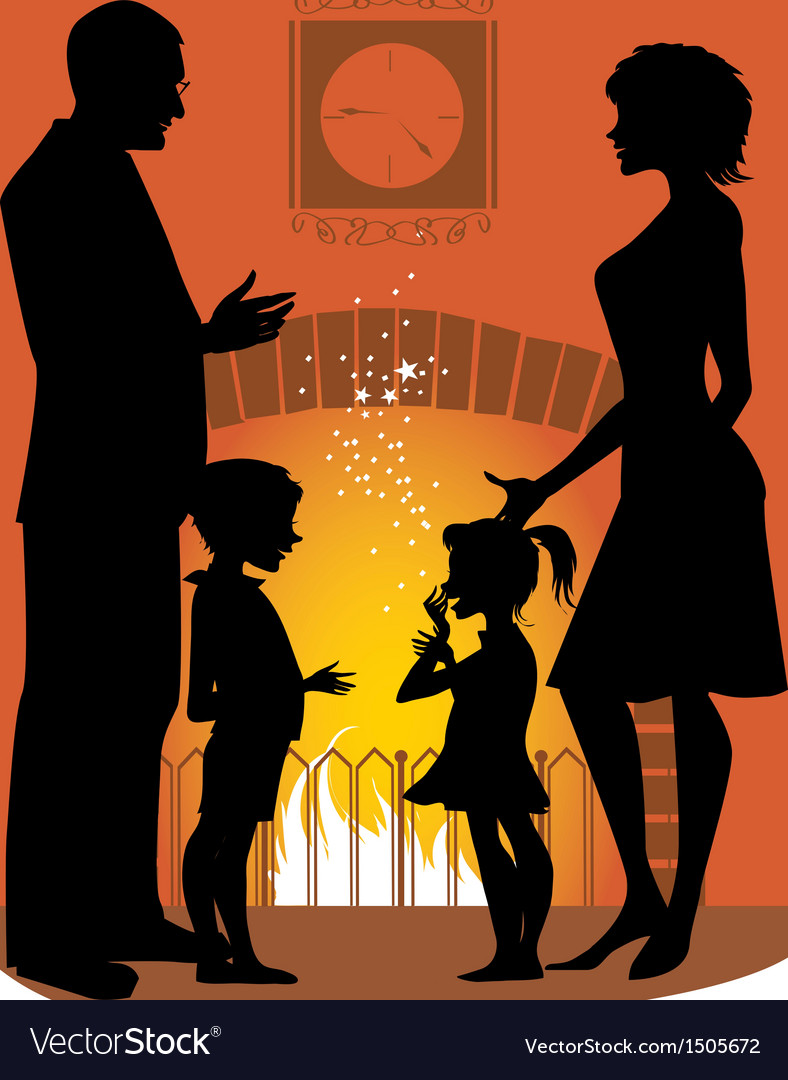 Family by the fireplace vector | Price: 1 Credit (USD $1)