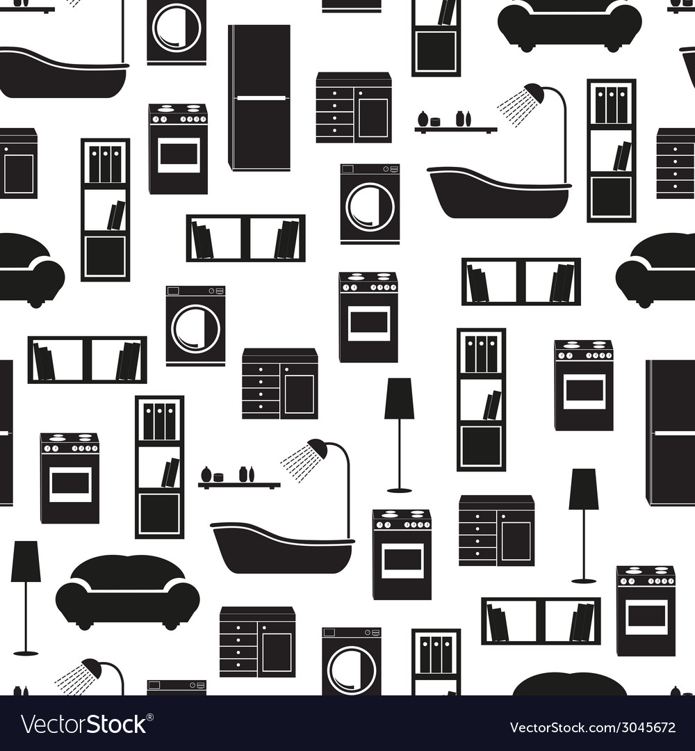 Home interior furniture seamless pattern vector | Price: 1 Credit (USD $1)