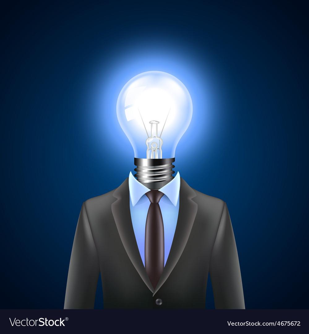 Lamp-head businessman idea concept vector | Price: 3 Credit (USD $3)