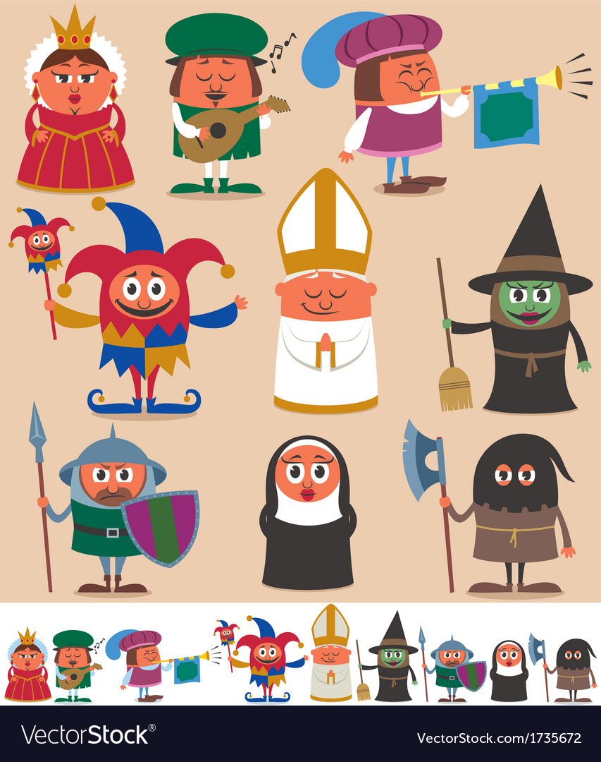 Medieval people 2 vector | Price: 3 Credit (USD $3)