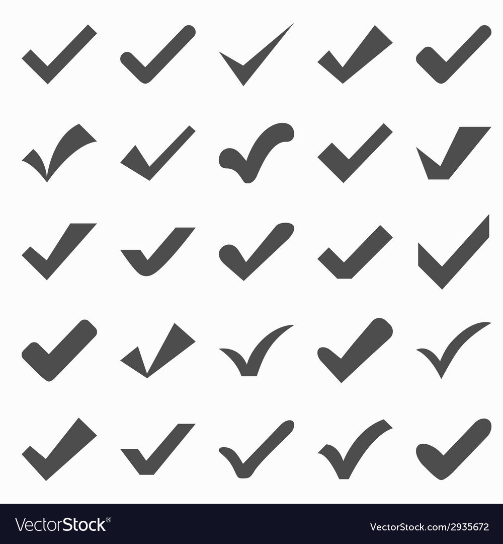 Set of different check marks or ticks vector | Price: 1 Credit (USD $1)