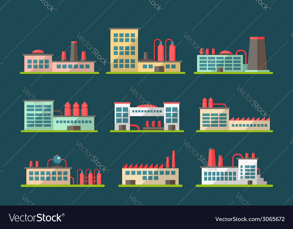 Set of flat design industrial buildings pictograms vector | Price: 1 Credit (USD $1)
