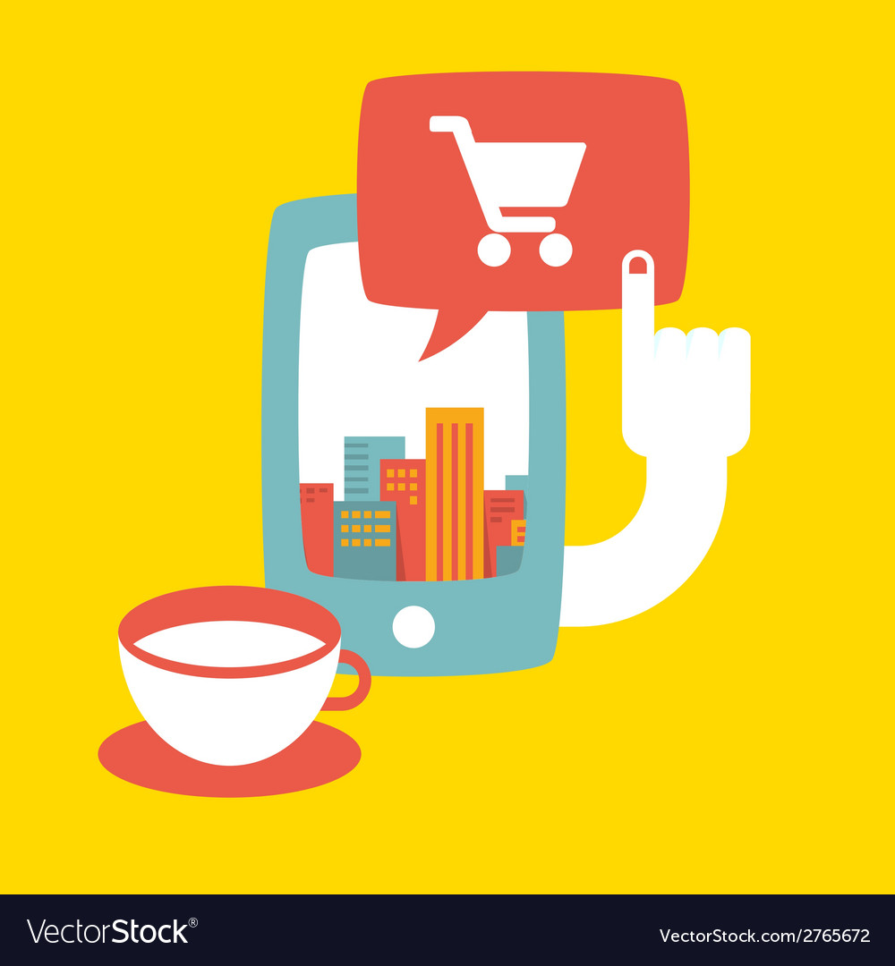 Shopping in the big city online vector | Price: 1 Credit (USD $1)