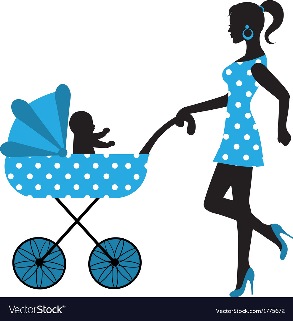 Silhouette of a woman with a stroller vector | Price: 1 Credit (USD $1)