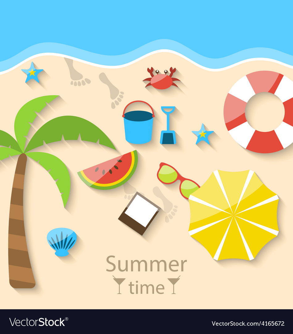 Summer time with flat set colorful simple icons on vector | Price: 1 Credit (USD $1)