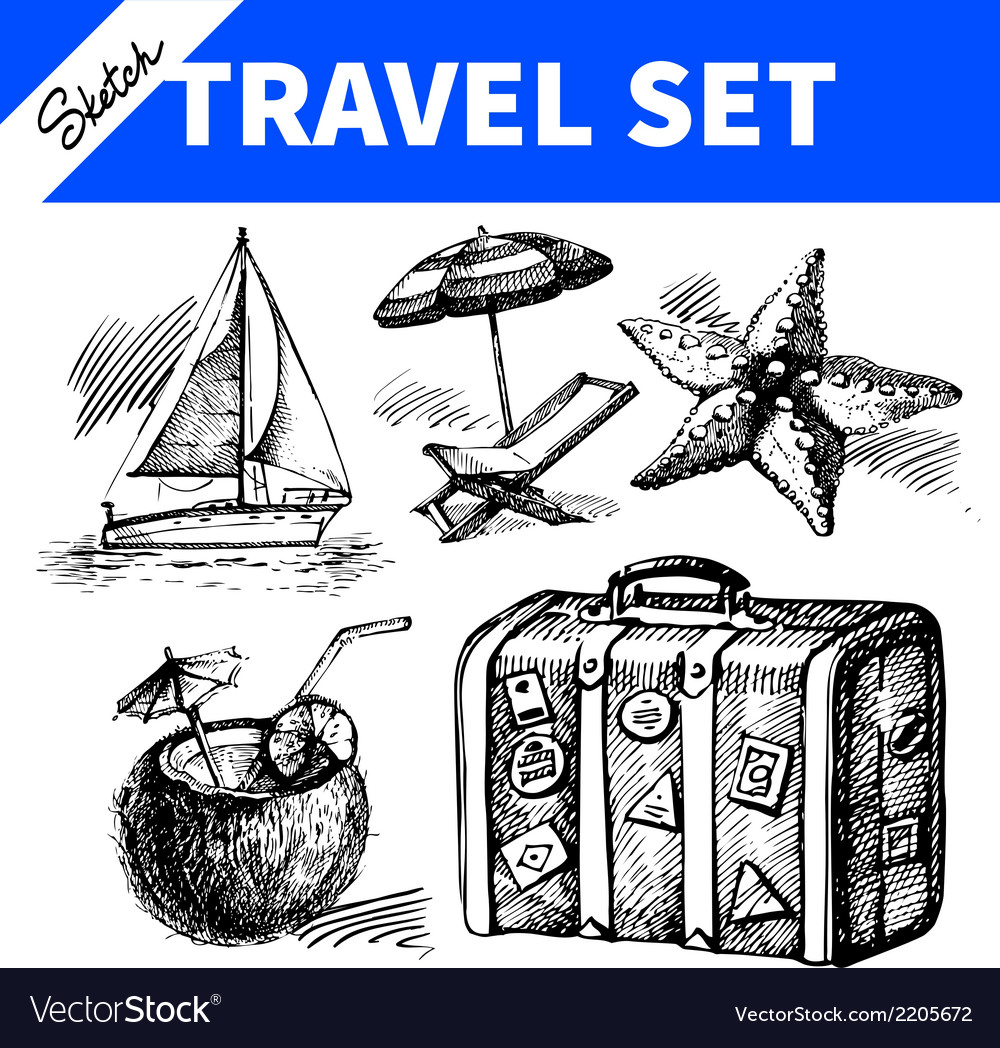 Travel and holiday set vector | Price: 1 Credit (USD $1)