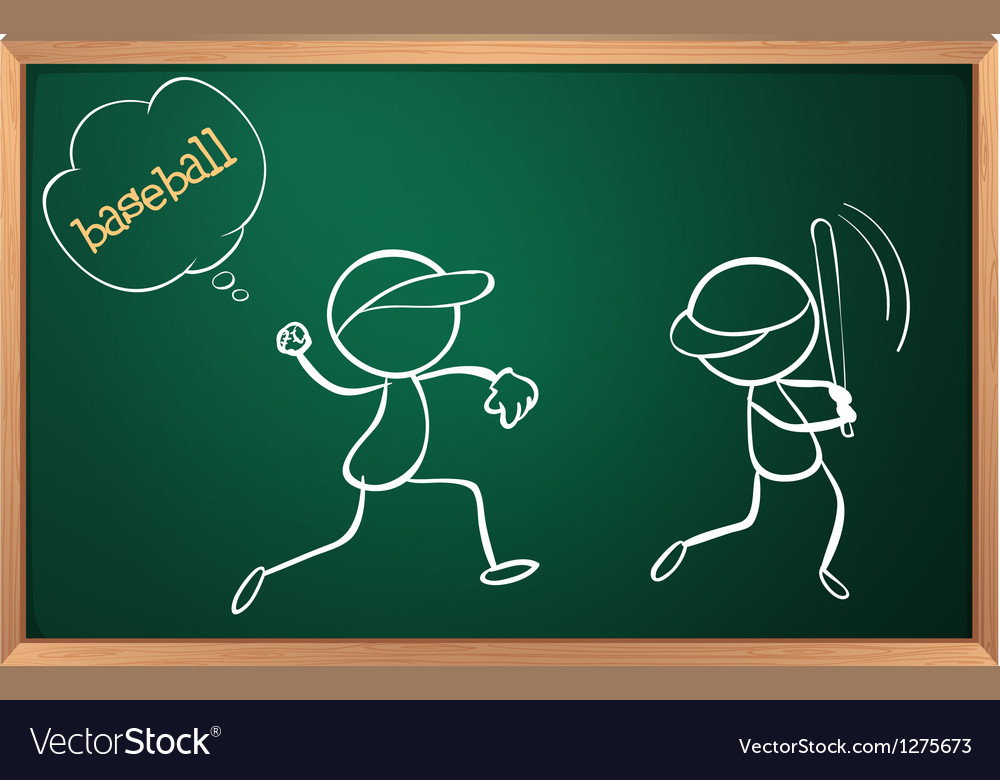 A board with a sketch of two baseball players vector   Price: 1 Credit (USD $1)