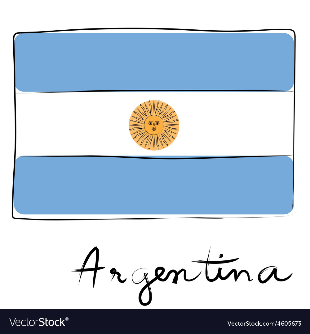 Argentine flag doodle vector | Price: 1 Credit (USD $1)