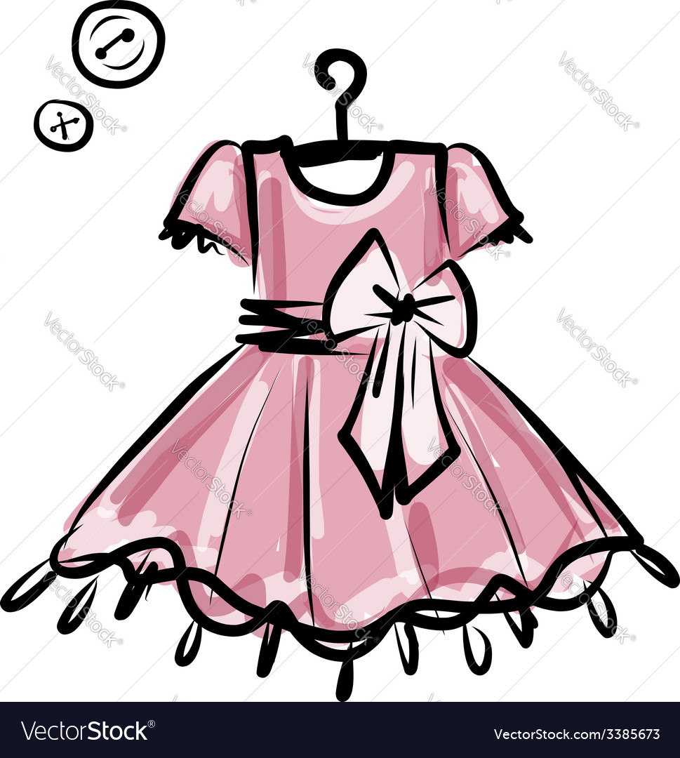 Baby dress on hangers for your design vector | Price: 1 Credit (USD $1)