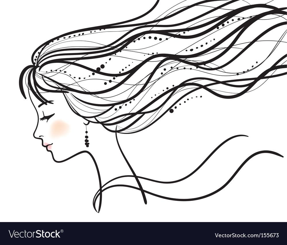 Beautiful woman face silhouette illustratio vector | Price: 1 Credit (USD $1)