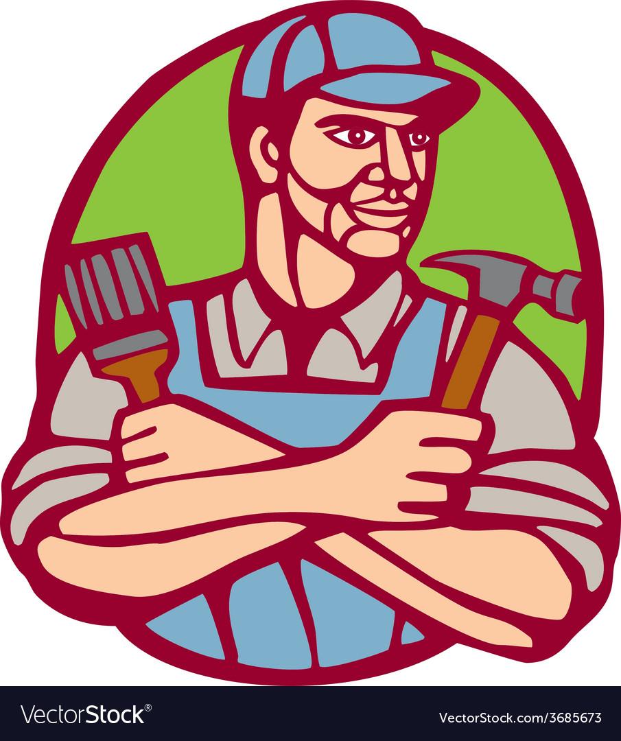 Builder carpenter paintbrush hammer linocut vector | Price: 1 Credit (USD $1)